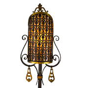 American 1920's Wrought Iron Floor Lamp with Pierced Brass & Mica Shield Shade and Brass Accents