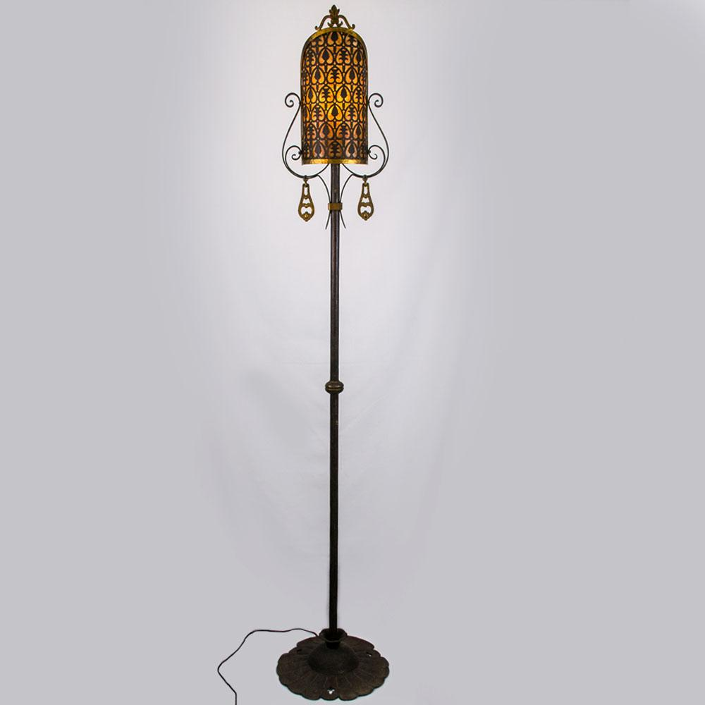 American 1920's Wrought Iron Floor Lamp with Pierced Brass & Mica ...