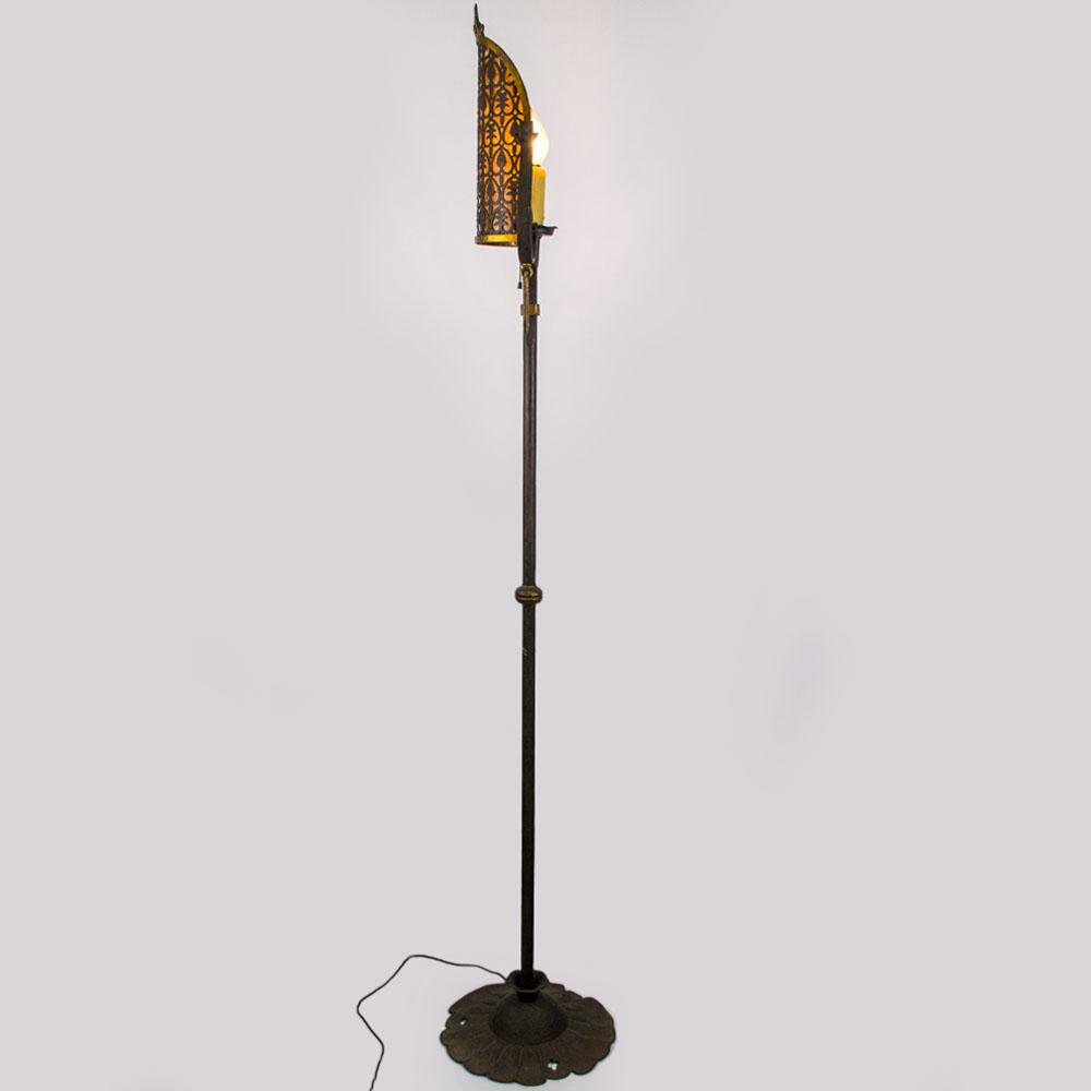 American 1920 39 s wrought iron floor lamp with pierced brass for 1920 floor lamp