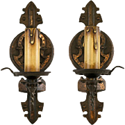 Pair 1920's American Spanish Revival Tudor Single Light Sconces