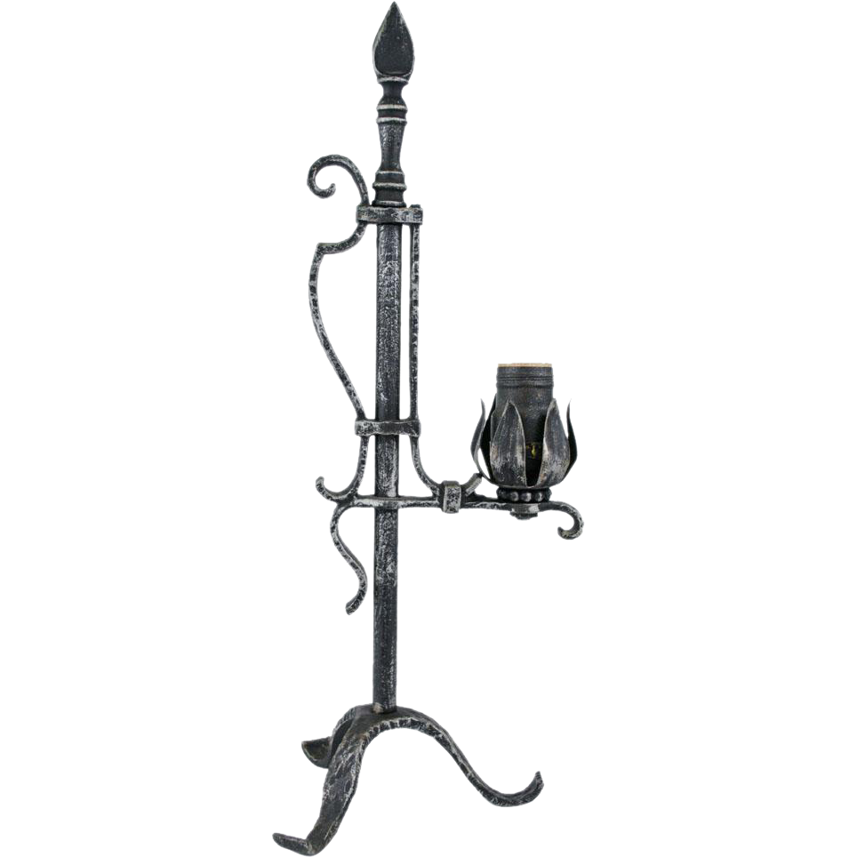1920 u0026 39 s pewter and black cast iron bridge arm table lamp from table