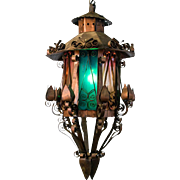 Mid Century Spanish Revival Copper Lantern with Green & Rose Colored Glass