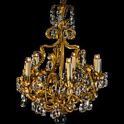 Mid Century Italian Tole Gilt 5 Light Crystal Chandelier