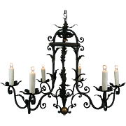 1930's French Six Light Black Iron Chandelier with Acanthus Tole Foliate Detail and Gold Highlights
