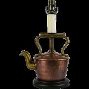 Antique Copper Tea Kettle Table Lamp