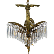 Bronze & Crystal Palm Frond Chandelier