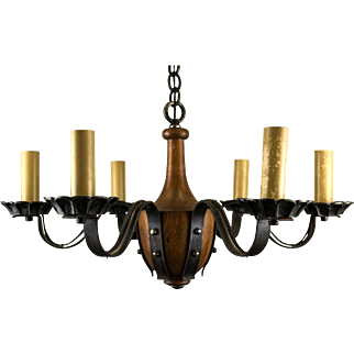 1920's 6 Light Tudor Jacobean Iron Strap and Wood Chandelier