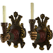 Vintage Hand Carved Wood Right and Left Hand Spanish Renaissance Style Sconces