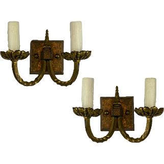 Pair of 1920's American Two Arm Square Back Plate Sconces