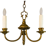 1920's American Small Brass Three Arm Chandelier