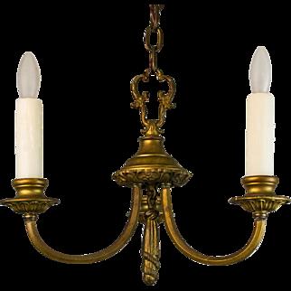 1920's American Small Brass Three Arm Chandelier