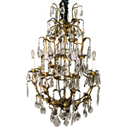 1960's Italian Tole Leaf and Crystal Chandelier