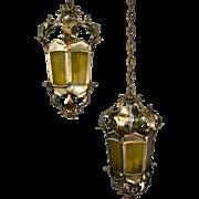 Pair, 1960's Antique Silver Tole Foliate Lanterns