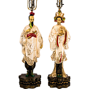 Pair of Mid Century Hand Painted Asian Figural Table Lamps