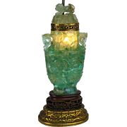 Early 20th Century Carved Jade Colored Quartz Urn Table Lamp