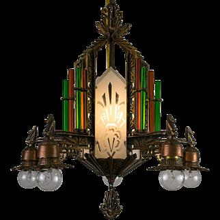 American Art Deco Bare Bulb Fixture