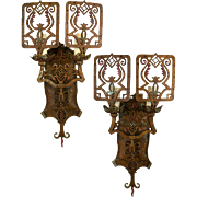 1920's American Cast Metal Two Arm Spanish Revival Sconces with Metal Shield Shades