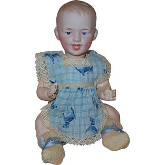 """9"""" German Bisque *Laughing Character Baby #7604 * by Gebruder  Heubach"""