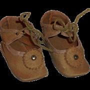 Antique *Tan Cloth German Doll Shoes* Size 6