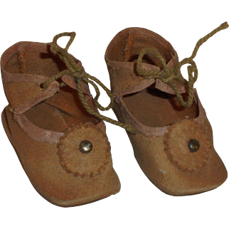 Antique *Tan Cloth German Doll Shoes* Size 6