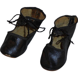 Antique *Black Oilcloth Doll Shoes* made in Germany