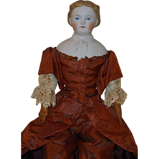 """Beautiful Antique *18"""" Parian Head Doll* with Molded Bodice"""