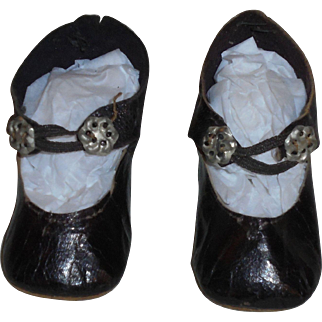 Antique French *Black Leather Doll Shoes* Size 5