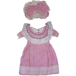 Antique Factory Original *Doll Dress & Bonnet* for German Doll