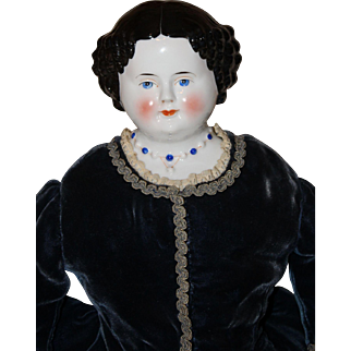 Beautiful Kestner *China Head Doll* with Molded Necklace