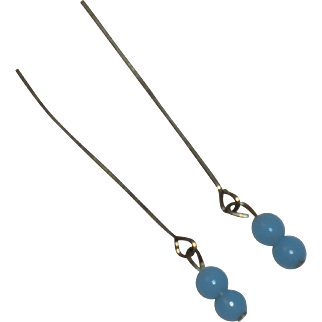 Wonderful *Blue Glass Drop Earrings* for Your Antique Doll