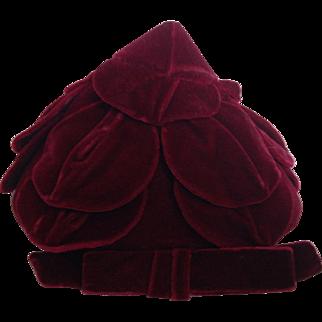 Vintage Hattie Carnegie Maroon Velvet Hat