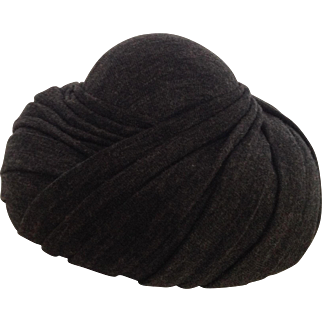 Vintage Hattie Carnegie Gray Pleated Hat
