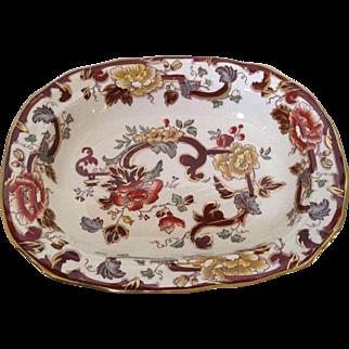 Mason's Ironstone Brown Velvet Pattern Serving Bowl