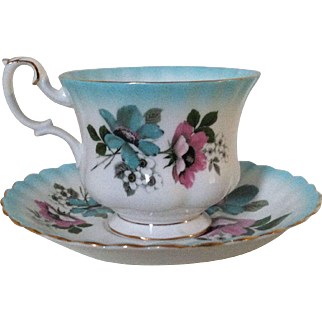 Vintage Royal Albert Bone China Cup and Saucer Blue and Pink Floral