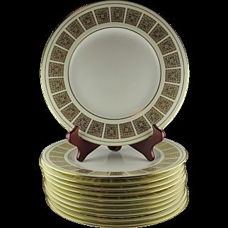 Eleven Minton Bone China Dinner Plates - Athena
