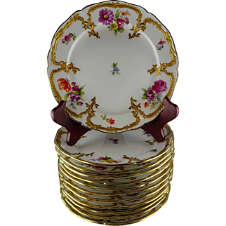 Set Of 12 Rare Neuzierat Berlin KPM Porzellan Teller Dessert or China Cabinet Plates - Floral with Heavy Gold