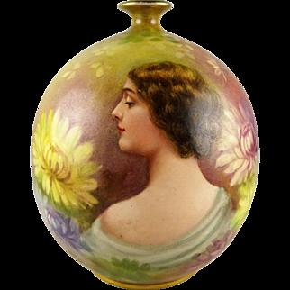 Royal Bonn Artist Signed Art Nouveau Portrait Vase