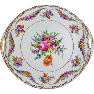 Dresden China Franziska Hirsch Floral and Gold Hand Painted Cake Plate