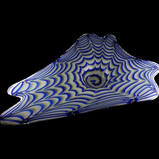 Murano Studio Art Glass Large Triangular Bowl - Blue Spiral, Gold Aventurine