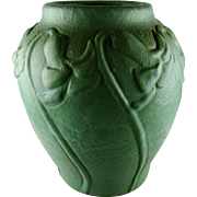 Van Briggle Rare Early Green Floral Carved Vase Dated 1906