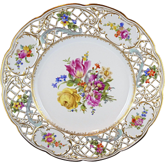 Dresden Floral Reticulated Porcelain Charger with Heavy Gold Trim