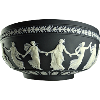 "Wedgwood Dancing Hours Black Dip Large 10"" Centerpiece Bowl"