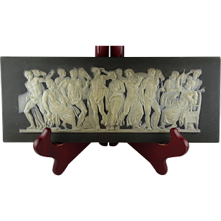 Rare Wedgwood Black Plaque with Many Roman or Greek Figures - Has Been Restored