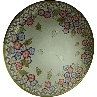 "Huge 18"" Bursley Ware Charlotte Rhead Multi-Colored Floral Charger Plaque English Faience Pottery"