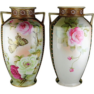 Pair of Imperial Nippon Porcelain Large Vases - Butterfly and Floral Design