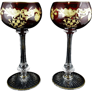Pair of St Louis Glass Massenet Ruby or Cranberry Gold Encrusted French Crystal Wine Hocks