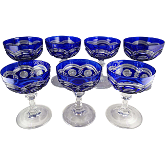 Seven Val St Lambert VAS46 Champagne or Tall Sherbets Cobalt Blue Cut to Clear