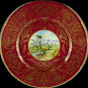 Coalport China Windsor Castle Artist Signed Crimson & Gold Encrusted Cabinet Plate