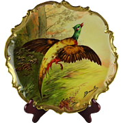 Coronet Limoges French Porcelain Pheasant Cabinet Plate - Artist Signed Bronsillion