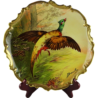 Coronet Limoges French Porcelain Pheasant Cabinet Plate - Artist Signed Broussillon
